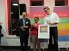 """And the winner is: Die Tübingerin Krishna-Sara Helmle mit ihrer Geschäftsidee Textöffner für """"leichte Sprache"""""""